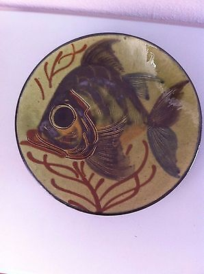 Studio Art Pottery Charger Plate - Hand Painted Fish Design