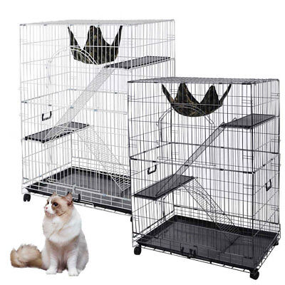 130cm 2 Levels Cat Cage Ferret Bird Parrot Aviary Budgie Hamster House w/ Castor