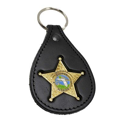 Florida Sheriff Star mini Badge Leather Key ring Holder FOB Law Enforcement Gold