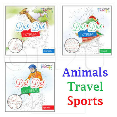 Adult Anti Stress Therapy Sports Animals Dot to Dot Colouring Puzzle Book Travel