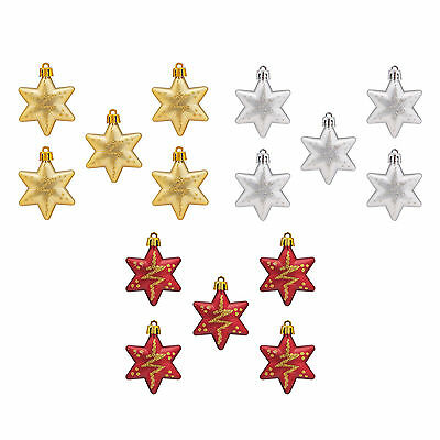 Set of 5 Hanging Ornaments Gold Glitter Stars Christmas Tree Decorations