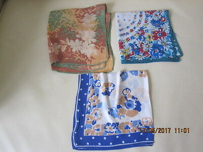 "3 Women's Vintage ""silk"" Handkerchiefs - Floral Patterns"
