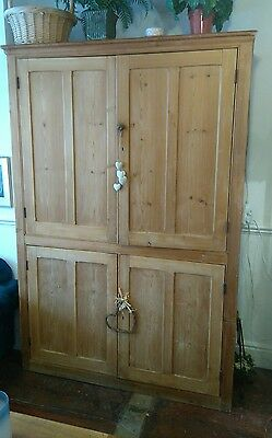 Very Large Antique Pitch Pine School Cupboard