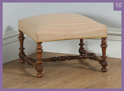 Antique French Duchess Walnut Upholstered Carolean Style Foot Stool Poof