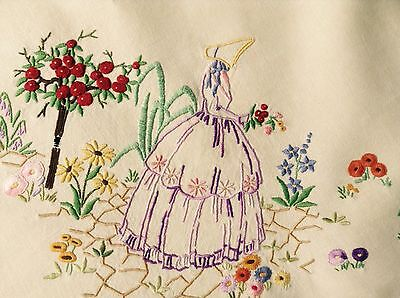 Vintage Stunning Hand Embroidered Crinoline Lady Roses Flowers Tablecloth