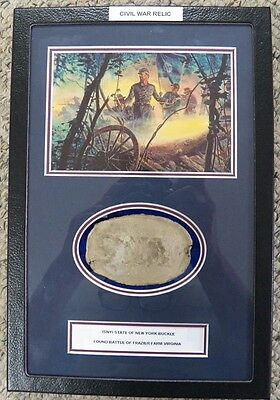 Excavated Civil War SNY (State of New York) Buckle In Matted Display Case