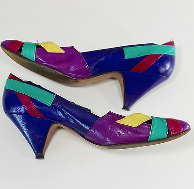 1980s Disco Shoes 7M Kitten Heels Colorful Leather Vintage Tamiko