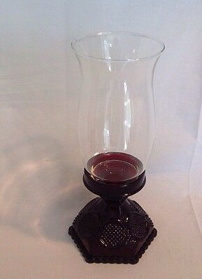 "Vintage Avon Cape Cod Ruby Red Hurricane Lamp Candle Holder Glass Globe 10.75"" T"