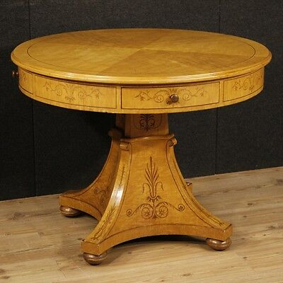 Round table for living room furniture wood inlaid antique style Carl X 900