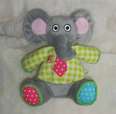 "AVON Tiny TILLIA Baby RATTLE Plush 9"" Gray ELEPHANT Crinkle TOY Snuggle BUDDY"