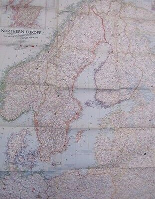 Old 1947 Northern Europe World Map