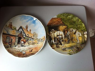 Two Royal Doulton Cabinet Plates Blacksmith - Old Country Crafts - Village Life