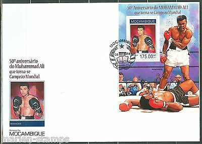 MOZAMBIQUE 50th ANNIVERSARY OF  MUHAMMAD ALI WORLD TITLE  SOUVENIR SHEET FDC