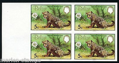 BELIZE 5c WORLD WILDLIFE FUND IMPERFORATED  BLOCK OF FOUR MINT NH