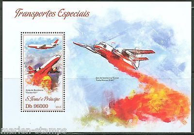 Sao Tome 2013 Specialized Vehicles Fire Fighter Plane Souvenir Sheet  Mint Nh