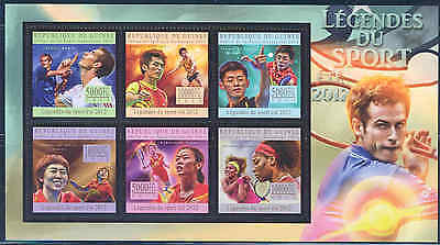 Guinea 2012 Sports Tennis Ping Pong Champions Sheet Of Six Stamps