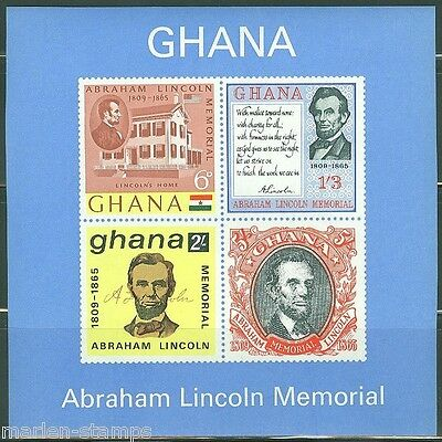 GHANA  IMPERFORATED SOUVENIR SHEET ABE LINCOLN  SCOTT#211a  MINT NEVER HINGED