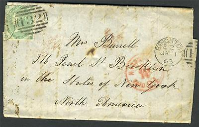 Great Britain Sc# 42 Used On Full Folded Letter Brighton To Brooklyn Us