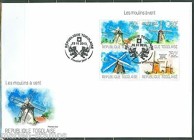 Togo  2013 Windmills  Sheet  First Day Cover