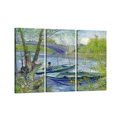 Quadro su Tela con Telaio Tris  Vincent Van Gogh Fishing in Spring, the Pont de