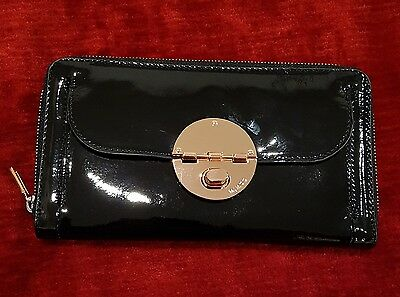 Mimco Patent Black Rose Gold Large Leather Travel Wallet Turnlock Clutch Purse