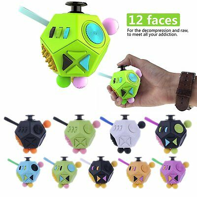 12-Side Fidget EDC Cube Kids Adult Anti-anxiety Stress Relief ADHD Toys Cubes