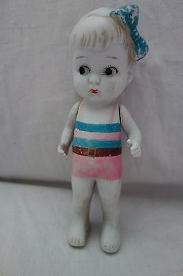 "1920's Bisque Doll- 6-1/2""-Japan-Little Girl in Pink Bathing Suit- VG-  SALE"