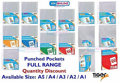 Punched Pocket A1 A2 A3 A4 A5 Wallets Clear Multi Punch Sleeve Filing Tiger Rang