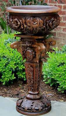 Antique French Highly Carved GOTHIC Planter Plant Stand Jardiniere Cherubs Angel