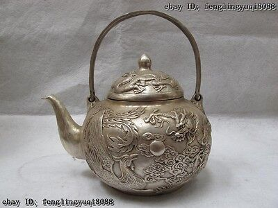 Chinese Royal White Copper Silver Lucky Dragon phoenix Play Bead Wine Pot teapot