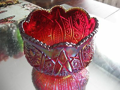 Large Brilliant Red Glass Heirloom Sunset Carnival Glass Rose Bowl Vase