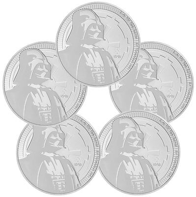 Lot of 5 2017 Niue 1 oz. Silver Star Wars - Darth Vader $2 BU Coin SKU47488
