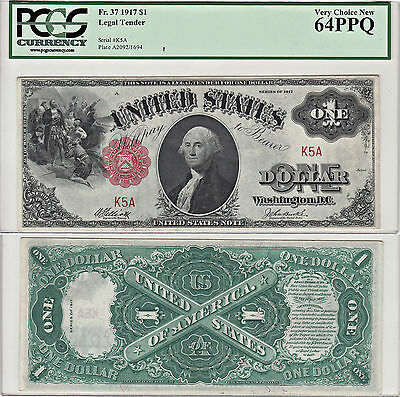 1917 $1 Legal Tender Note F-37 Low Serial #5 PCGS Very Choice New-64 PPQ