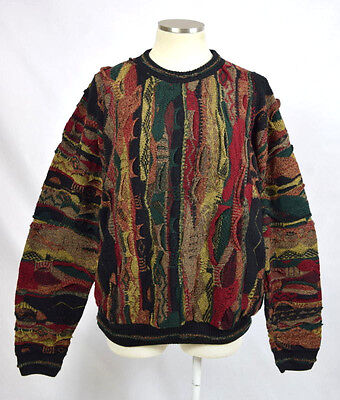 Vtg 90s PROTEGE Textured Coogie Style Cosby Knit Grunge Sweater Jumper Mens L
