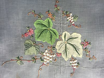 Pretty sheer organdy shadow work embroidery and drawnwork runner and placemats