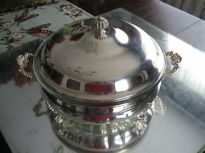 Elegant Antique/vintage  Kings Complete Silver Plate Serving Dish Bowl