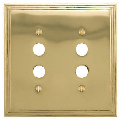 Signature Hardware Deco Design Solid Brass Double Push Button Outlet Cover
