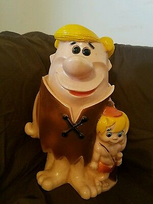 FLINTSTONES BARNEY RUBBLE COIN BANKS w/ BAMBAM---HANNA BARBERA