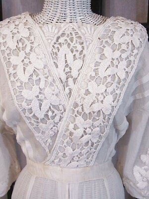 Beautiful Antique LACE Embroidered Dress Tambour WEDDING White lush work