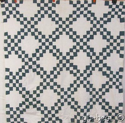 Farm House c 1930s Irish Chain vintage Quilt Top GREEN