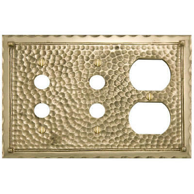 Signature Hardware Hammered Solid Brass Double Push Button and Outlet Plate