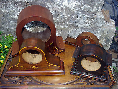 Joblot Of Wooden Clock Case Inlaid, Carved, Antique / Vintage Mantle Table