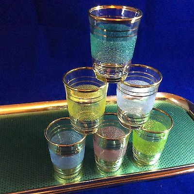 Vintage Retro French Shot Glasses with Tray