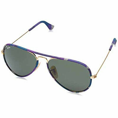 Ray-Ban Aviator Full Color Sunglasses 58mm (Multicolor Gold /Green Classic G-15)