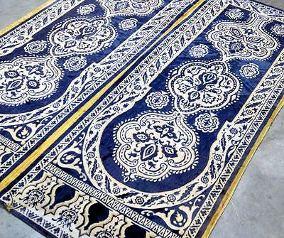 Antique Silk Moroccan Moorish 2 Panel Blue & Gold Tapestry Wall Hanging Rug