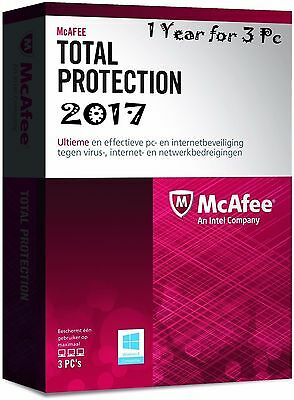 2017 McAfee Total Protection Antivirus Software 1 Year 3 PC 100% Full Protection
