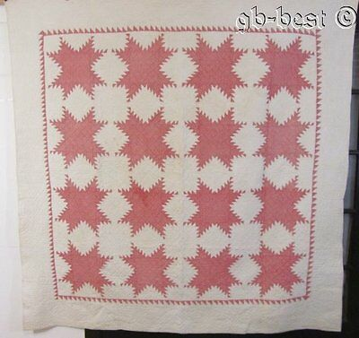 """Tiny Pieces! c 1880s Feathered Star Antique QUILT Double Pink 80"""" x 78"""""""