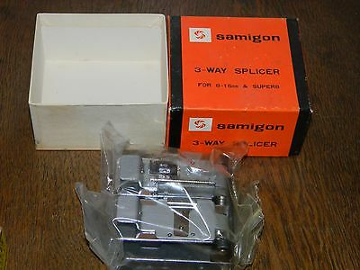 Vintage Samigon 3 Way FILM SPLICER for Super 8 8MM 16MM New in Box NOS