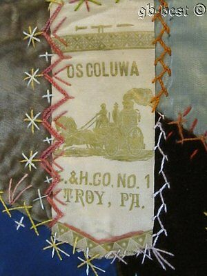 """Antique c 1890s Crazy Quilt pc Make a Table Runner RIBBON 40"""" x 13.5"""""""
