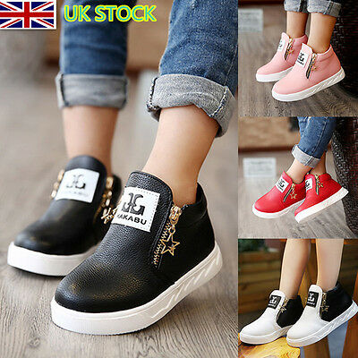 UK Kids Gift Girls PU Trainers Zipper Stars Ankle Boots Sport Martin Boot Shoes